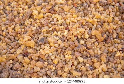 driend frankincense (boswellia serrata) being sold at a market