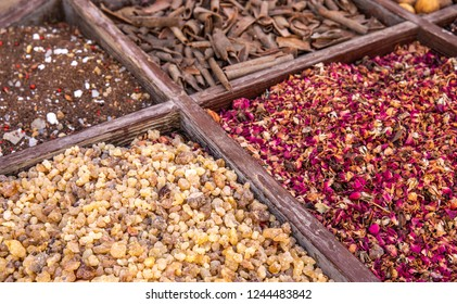 driend frankincense (boswellia serrata) and other spices being sold at a market in Al Seef