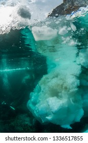 Drift ice and diver