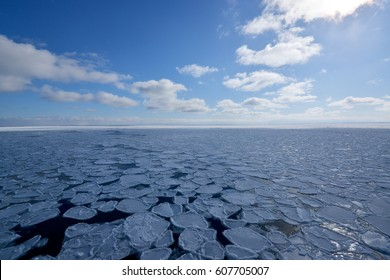 Drift Ice floating at sea of the northern coast Hokkaido, Japan in winter.