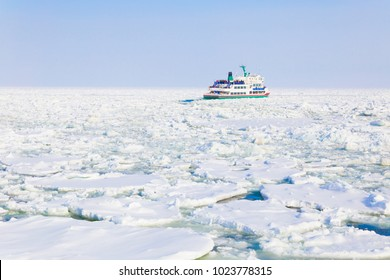 Drift Ice and tourist cruise on the Sea of Okhotsk in Abashiri,Hokkaido,Japan