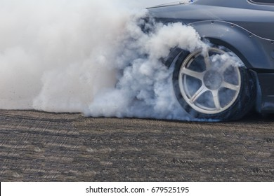 Drifting car, Sport car wheel drifting and smoking on track.