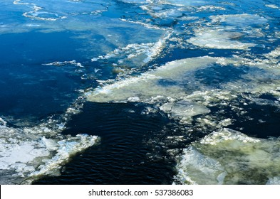 Drifting ice floes on a river Dnieper in Kremenchug, Ukraine