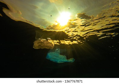 Drifting plastic bags on surface of ocean during sunset
