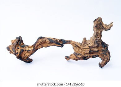 Driftwood with a beautiful pattern on a white background