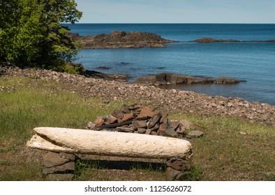 Driftwood bench at Lake Superior