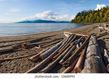 Driftwood on a sandy beach on Point Grey in Vancouver. Bowen Island is visible in the distance