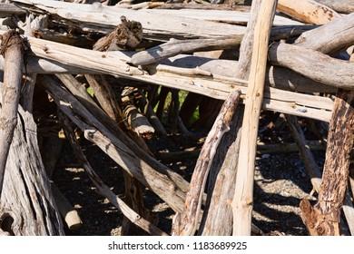 Driftwood sticks arranged in a haphazard way on a beach in Maine.