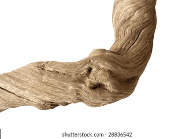 Driftwood with strong twisted grain and knots on white background with clipping path