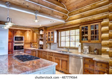 Driggs, Idaho, USA Nov. 11, 2014 The kitchen in a modern log cabin in the mountains