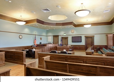 Driggs, Idaho, USA Oct. 10, 2014 The interior of an American courtroom woth council desks, judges bench, jury box, and gallery.