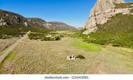 Driggs Mansion Ruins Aerial, Unaweep Canyon, Colorado