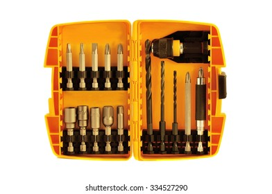 Drill Bits in Orange Case against White Background