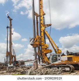 Drill, bore pile rig machine at the construction site on blue sky background