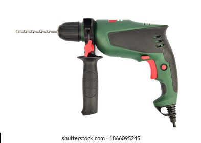 Drill isolated on white background. Drill with drill bit. Corded power drill with green and black color.