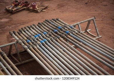 Drill pipes in oil and gas rig.