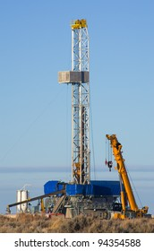 drill rig set up for winter drilling in Wyoming