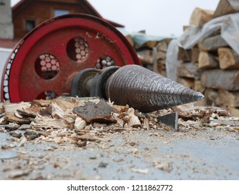 drill saw machine and work with wood - before winter time and heating season