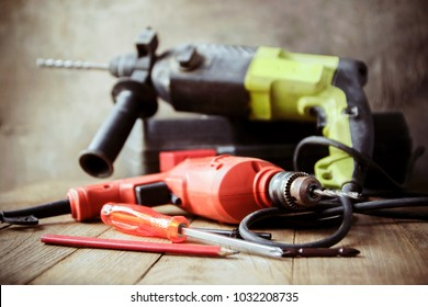 Drill and set of drill,carpenter tools,home repair concept.