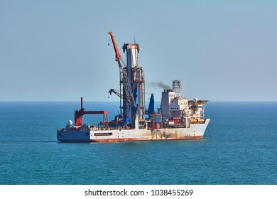 Drill Ship works in the Black Sea