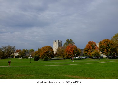 Drillfield at Virginia Tech polytechnic institute in Blacksburg, in the fall/autumn, Southern Virginia, Tier I university in the USA