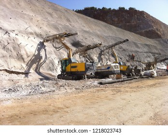 Drilling and blasting works during a highway / road construction project