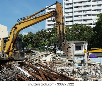 Drilling excavator working on site