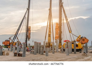Drilling machine or driving concrete pile machine at construction site