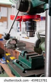 drilling machine in a workshop