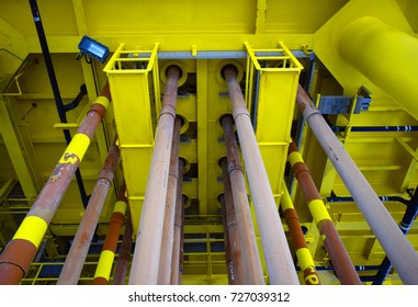 Drilling pipe offshore oil and gas install on welhead platform offshore.