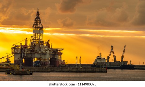 drilling platform on the roadstead in the port