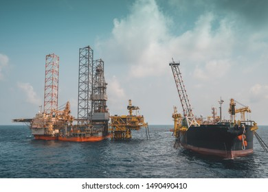 drilling rig attached to wellhead platform