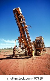 Drilling rig, drilling core samples for Gold exploration