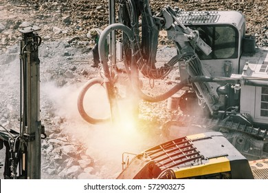 Drilling rig in operation. Mining,drilling drill ground