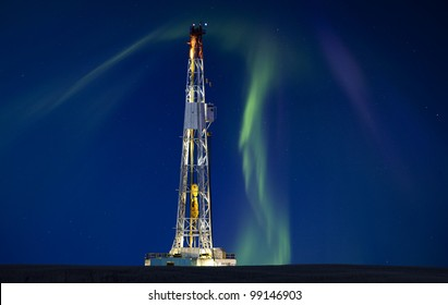 Drilling Rig Potash Mine Night Photography Northern Lights Aurora