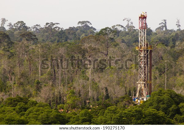 Drilling rig in a tropical jungle
