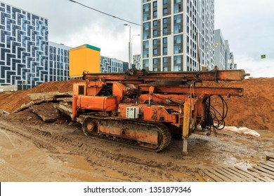 Drilling Rig or water well drilling. water drilling machine was operating to have new well. Ground water hole drilling machine installed on old truck. directional boring unit in action. Moscow - 2019