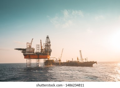 Drilling rig, wellhead platform, floating production storage offloading (FPSO) at oil field