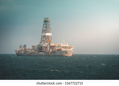 Drilling ship laid up and at anchorage