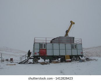 Drilling in winter conditions in the Karaganda region of the Republic of Kazakhstan