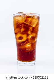 Drink cola in glass on white background.