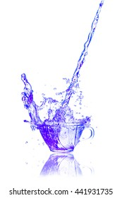 Drink a glass of blue splash out on a white background.