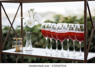 Drink glasses at the buffet table