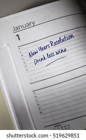 Drink Less Wine New Years Resolution in the diary