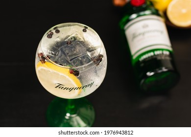 drink made with gin tonica tanqueray and bottle in the background