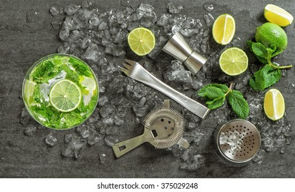 Drink making tools and ingredients for cocktail. Mojito. Caipirinha