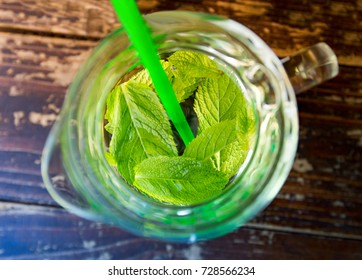 drink from mint with water in a jug