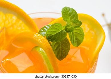 Drink orange juice, close-up