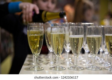 Drink reception with served champagne glasses