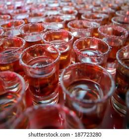 drink in shot glasses